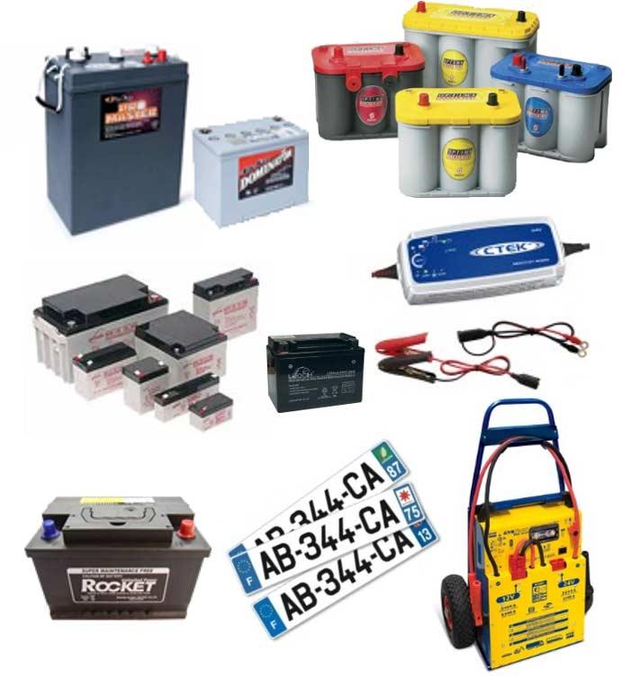 Batteries auto, moto, PL, agricole, bateau, décharge lente, booster, chargeur de batterie, plaque d'immatriculation près de troyes
